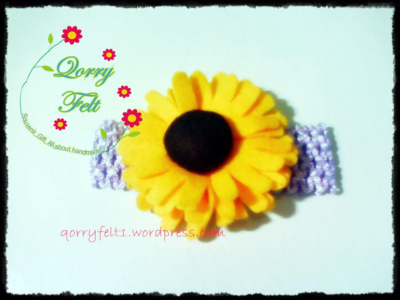 Bandana Bayi Headband Dengan Hiasan Bunga Cantik Qorry Felt N Craft