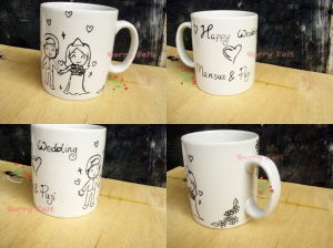 kado mug happy wedding