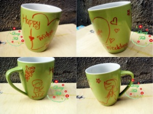 souvenir mug happy wedding